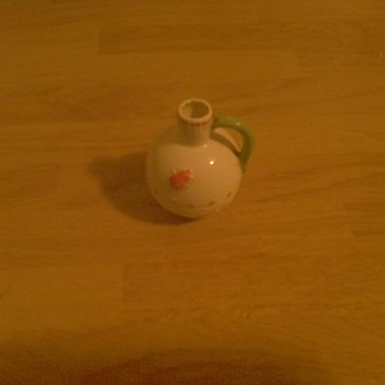 my little white bottle with a red bug design on it from Czecho-Slovakia  - Bottles