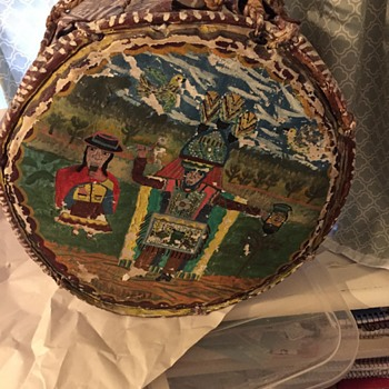 Antique Drum painted with Native American scene ... or is it?