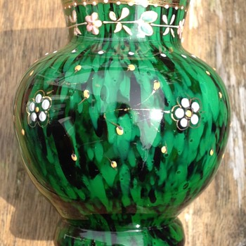 Small Welz Oxblood and green enamelled vase. - Art Glass