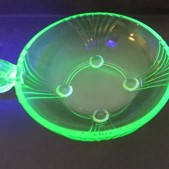 Uranium Glass Nappy Dish - Glassware