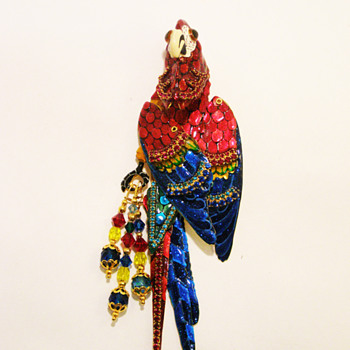 Vintage Lunch at the Ritz Macaw Masquerade Brooch - Costume Jewelry