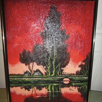 Red Desert Oil on Canvas - Visual Art