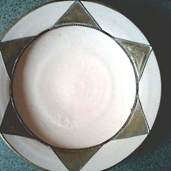 "Morrocan ""Safi"" Teracotta and Metal 13"" Plate/Unknown Age"