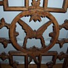 "Antique Asian Butterfly Carved Wood ""Window"""