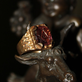Flea Market Find- Antique Intaglio Masonic Ring - Fine Jewelry