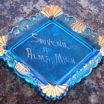 Vintage Opalescent Blue Pin Tray Souvenir Dish - Glassware
