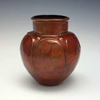 "Ludwig Vierthaler ""Eosin"" Copper Vase for Josef Winhart & Co., Circa 1902"