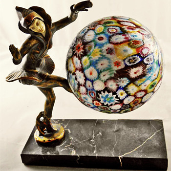 2nd Pixie Lamp with Millefiori Glass - DANSEUSE DES INDES by I. Gallo 1925 - Art Deco