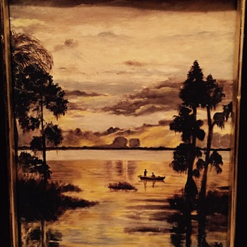 Old oil painting of what looks like fisherman  - Visual Art