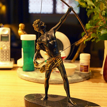 1910-20s French Bronze Male Archer With Marble Base  - Art Deco