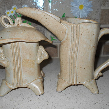 "Very Unusual Studio Art Pottery ""Grotesque"" Cream and Sugar Signed SB ?"