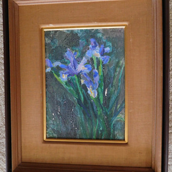 "Old Oil Painting of Iris on Canvas.  Mysterious ""Gift""  to Esso Standard"