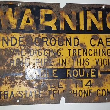 INTRASTATE TEL CO buried cable warning sign - Signs