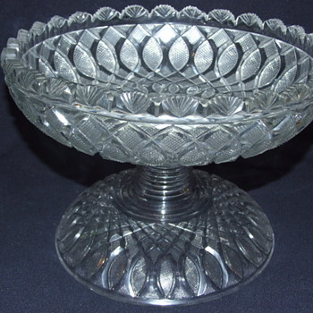 Irish Age of Exuberance 2 Piece Cut Glass Bowl & Stand