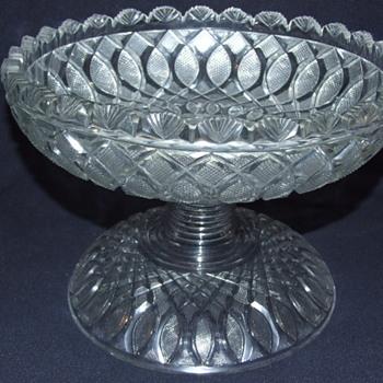Irish Age of Exuberance 2 Piece Cut Glass Bowl & Stand