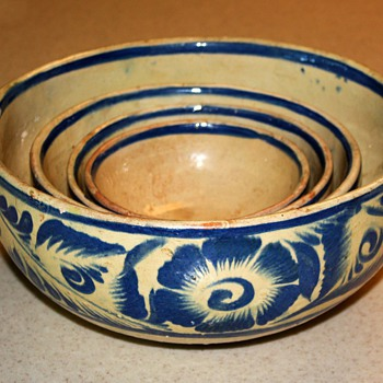 Tonala [?] Set of Mixing Bowls from Mexico - Art Pottery