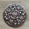 800 Silver Repousse Floral Brooch - Signed HHM or WHH