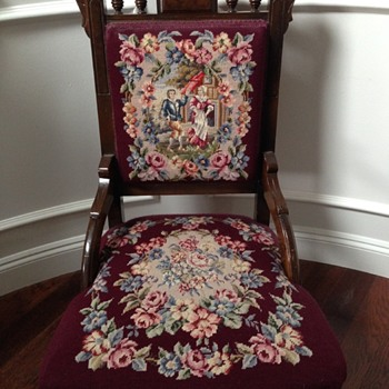 Antique Chair with Embroidered Cushions