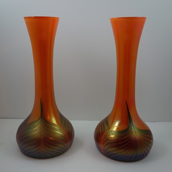 Kralik Feather Pulled art glass vases, ca. 1905