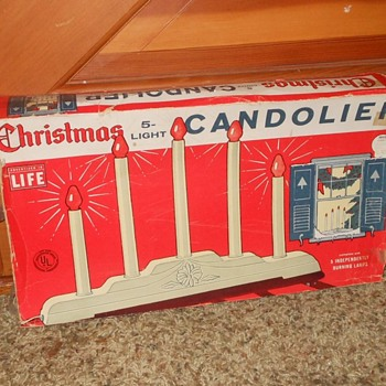 Vintage  Crhistmas 5 Light Candolier With Box - Christmas
