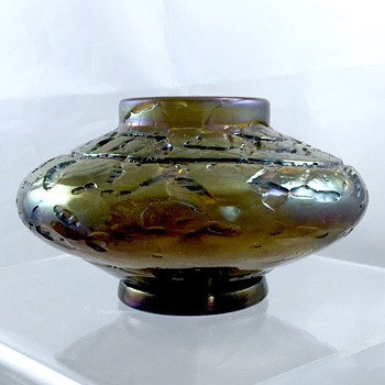 Bohemian Bronze Purple Crackle Squat Cabinet Vase Bowl