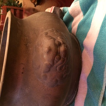 Trying to find out what this is! Brass pot with markings-Asian  - Asian