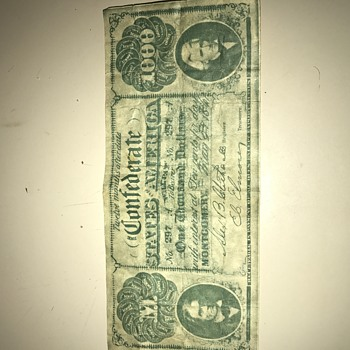 Confederate 1000 note real or fake ....