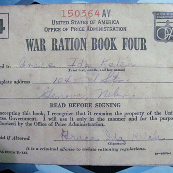 WWII Ration Book Four