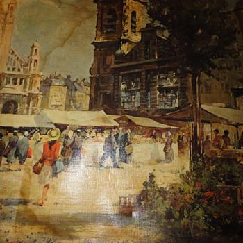 European Street Scene Oil on Canvas - Visual Art