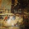 European Street Scene Oil on Canvas
