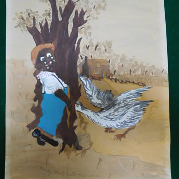 "Vintage Original Black Americana Watercolor Painting ""Early Bird Gets the Worm""   - Folk Art"
