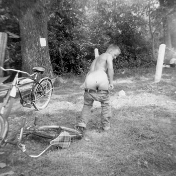 1950's nice Bikes but LOOK what it did to him :-)  - Photographs