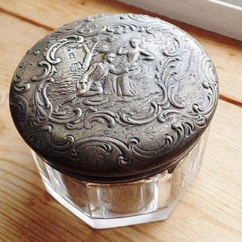 Glass container with silver top, unknown maker - Sterling Silver