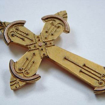 Antique Gold Crucifix with Eastlake-Like Applied Design - Fine Jewelry