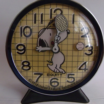 "1971 Snoopy ""Tennis"" Clock and Wrist Watch"