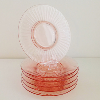 Rays On Top Small Depression Glass Plates