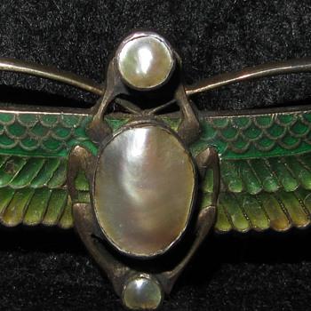 Levinger & Bissinger enamel pearl scarab brooch.