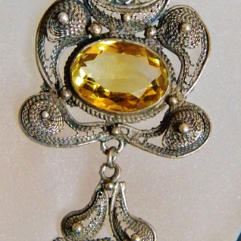 Antique Victorian Citrine Dangle Filigree Silver Lavaliere Necklace