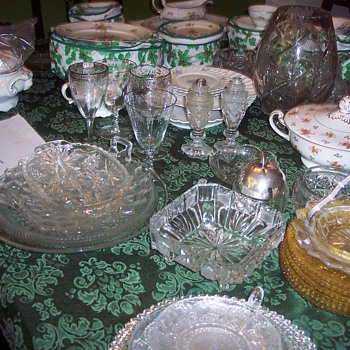 Vintage carnival, depression and Ruby glass...Haviland 'Brown Rose' pattern dinnerware.