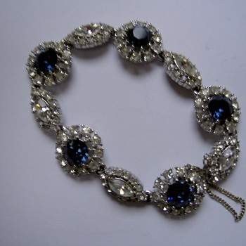 Vintage Ciner bracelet - diamante and sapphires - genuine? - Costume Jewelry
