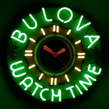 Bulova Watch Time Neon Clock