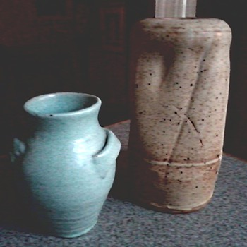 Two Studio Art Pottery Vases / Mystery Marks / Unknown Maker and Age - Art Pottery