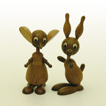 Mouse and Rabit wooden figurines (Spain, 1960s)