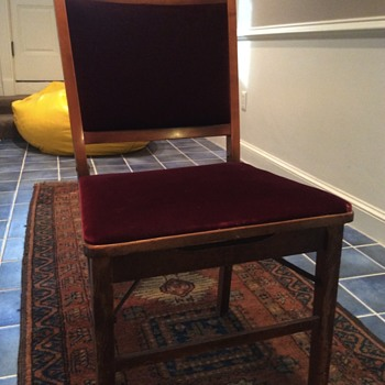 Folding chair with mohair seat and back