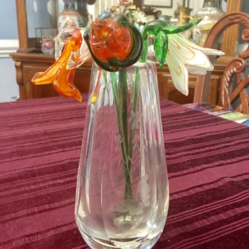 Old thick glass vase  - Art Glass