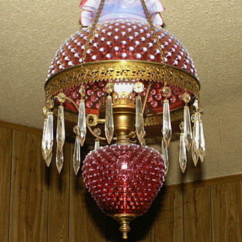 Antique Cranberry Hobnail Hanging Lamp - Lamps