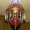 Antique Cranberry Hobnail Hanging Lamp
