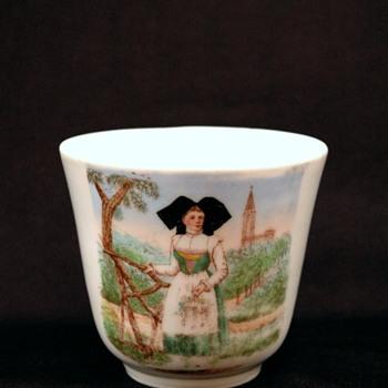 tasse en porcelaine - souvenir d'alsace vers 1900- porcelain cup - remember to Alsace 1900 - Pottery