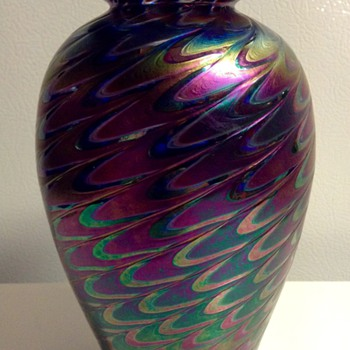 Iridescent Fether Pulled Glass Vase by The Glass Eye Studio