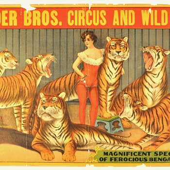 "Original 1920 ""Snyder bros. Circus and Wild West"" Stone Lithograph Poster"